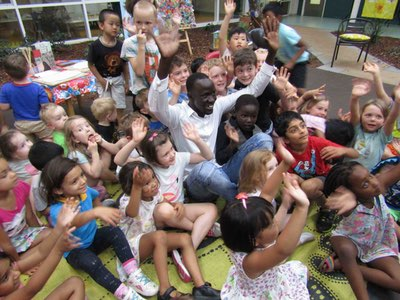 Big Deng meets Little Deng: School who raised $100 for John Mac Foundation gets a visit